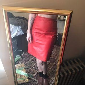 Vintage high waist leather pencil skirt 26/27